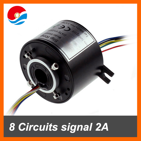 Rotary joint 6 wires/circuits signal 2A with bore size 12.7mm through hole slip ring