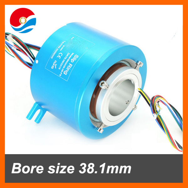 High speed 5000RPM rotary joint slip ring with 6 wires bore size 38.1mm