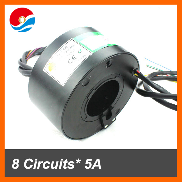 8 wires contact each 5A/10A of through hole/bore slip ring inner size 50mm