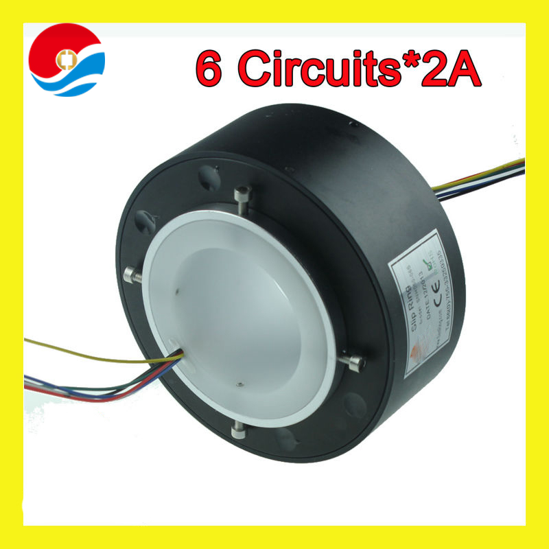 Shenzhen manufacturer slip ring 6 circuits signal bore size 60mm of through hole slip ring