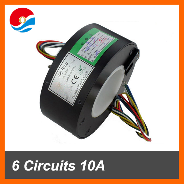 Electrical slip ring 60mm through bore 6 circuits/wires 10A